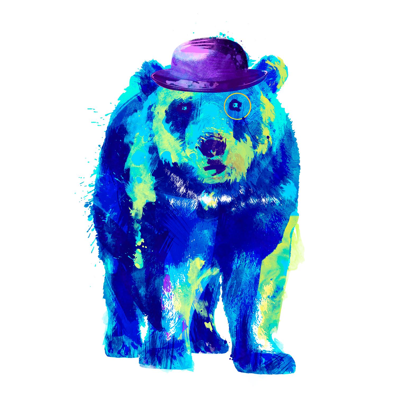 Oso, Galeria MOA, ilustraciones, arte, animal, bosque