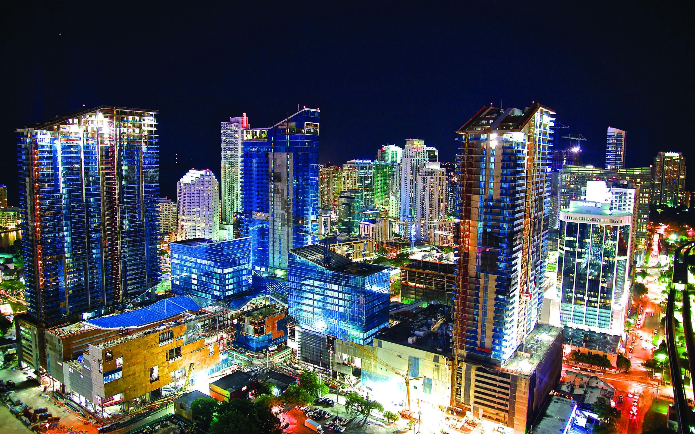 Ciudad, nocturna, Miami, vidrio, edificios, Galeria MOA, Alvaro Ramirez, fotografía, decoración, diseño