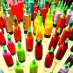 Lámpara, jeringas, color, arte, Galeria MOA, Alvaro Ramirez, fotografía, decoración, diseño