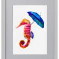 Ilustración, caballito, Galeria MOA, arte, decoración, cuadro, mar, animales, MOA Prints, marco, negro