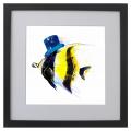 Ilustración, pez, Galeria MOA, arte, decoración, cuadro, mar, animales, MOA Prints, Marco negro