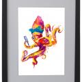 Pulpo, mar, Madonna, Galeria MOA, Ilustracion, arte, decoración, marco, negro